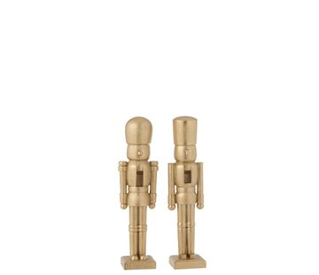J -Line Decoration Figure Two Soldiers Poly Champagne - Small
