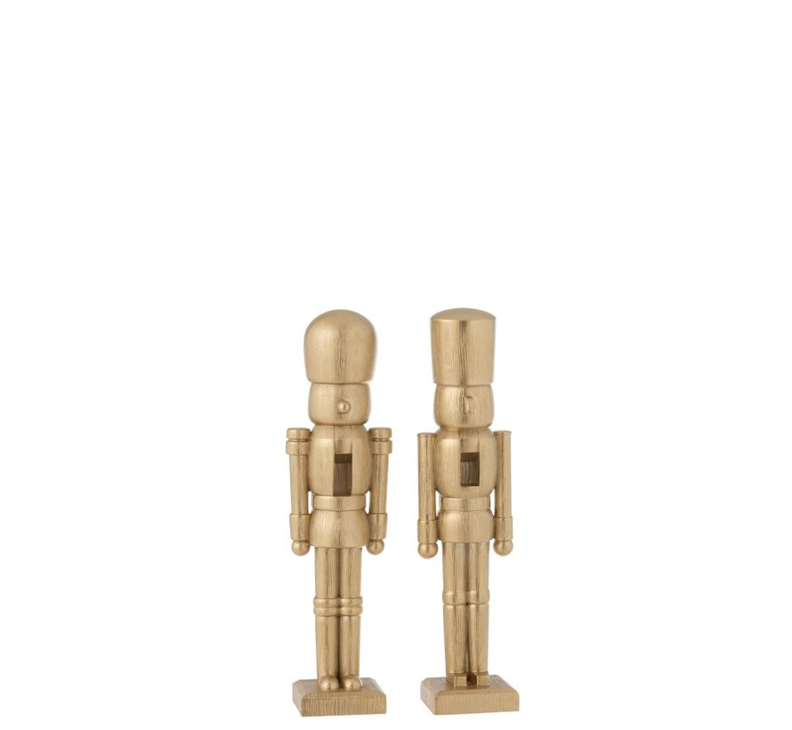Decoratie Figuur Twee Soldaten Poly Champagne - Small