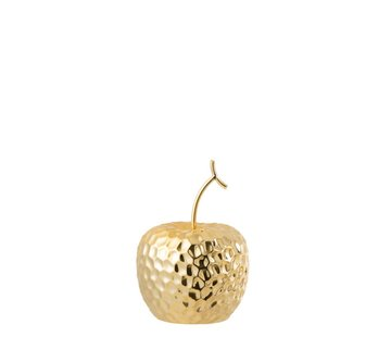 J -Line Decoration Apple Relief Ceramic Gold - Medium