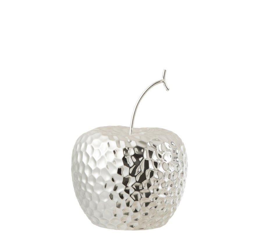 Decoration Apple Relief Ceramic Silver - Large