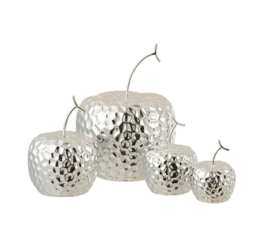 Decoration Apple Relief Ceramic Silver - Small