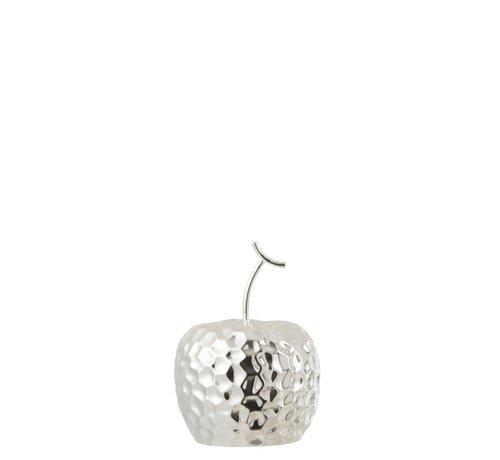 J -Line Decoration Apple Relief Ceramic Silver - Small