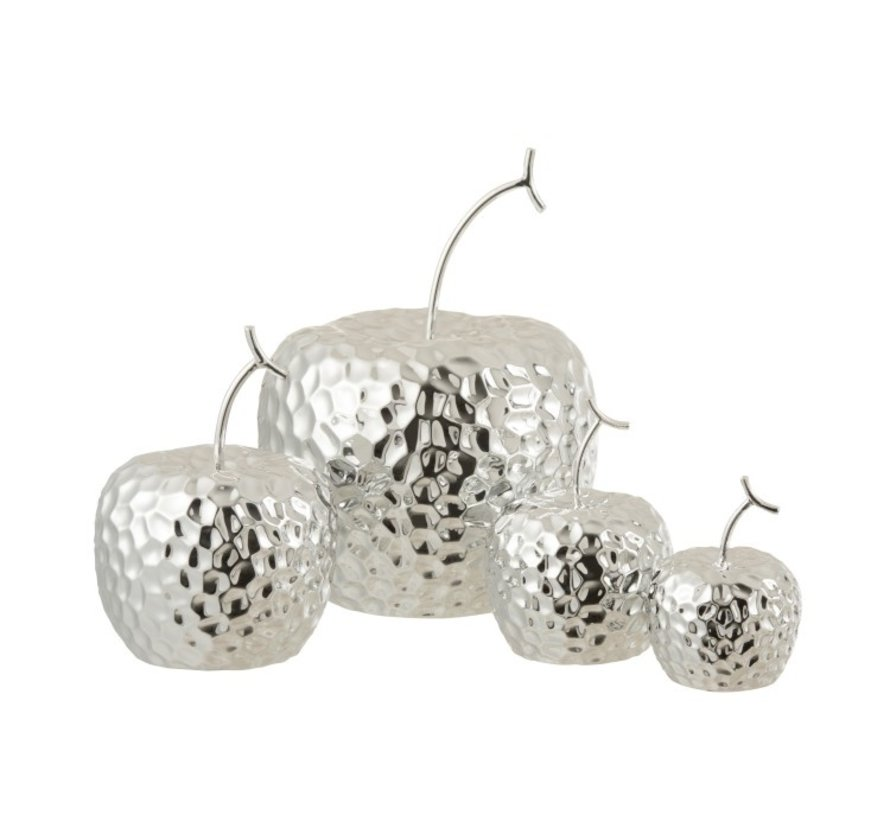 Decoration Apple Relief Ceramic Silver - Extra Small