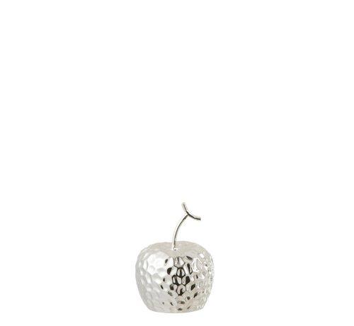 J -Line Decoratie Appel Relief Keramiek Zilver - Extra Small