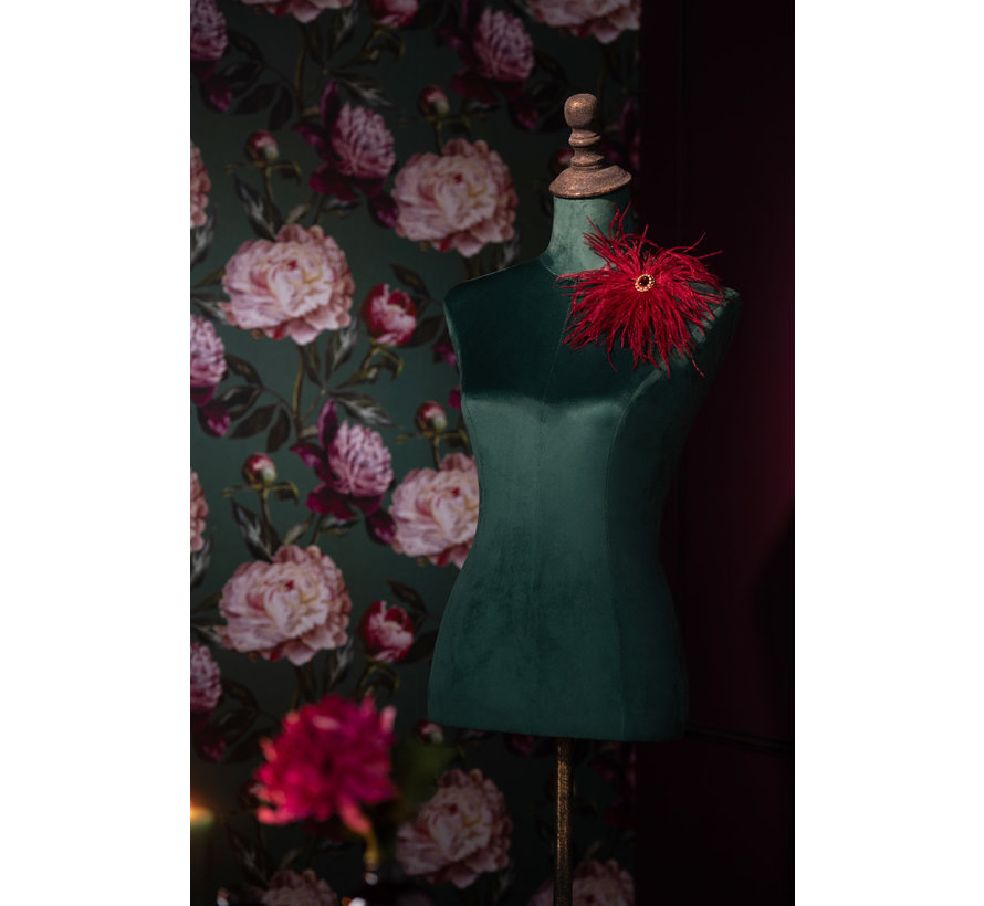 Decorative Bust Ladies Textile Metal - Green