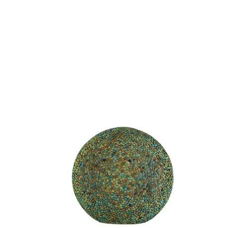 J-Line Tafellamp Bol Parels Glas Led Blauw - Groen