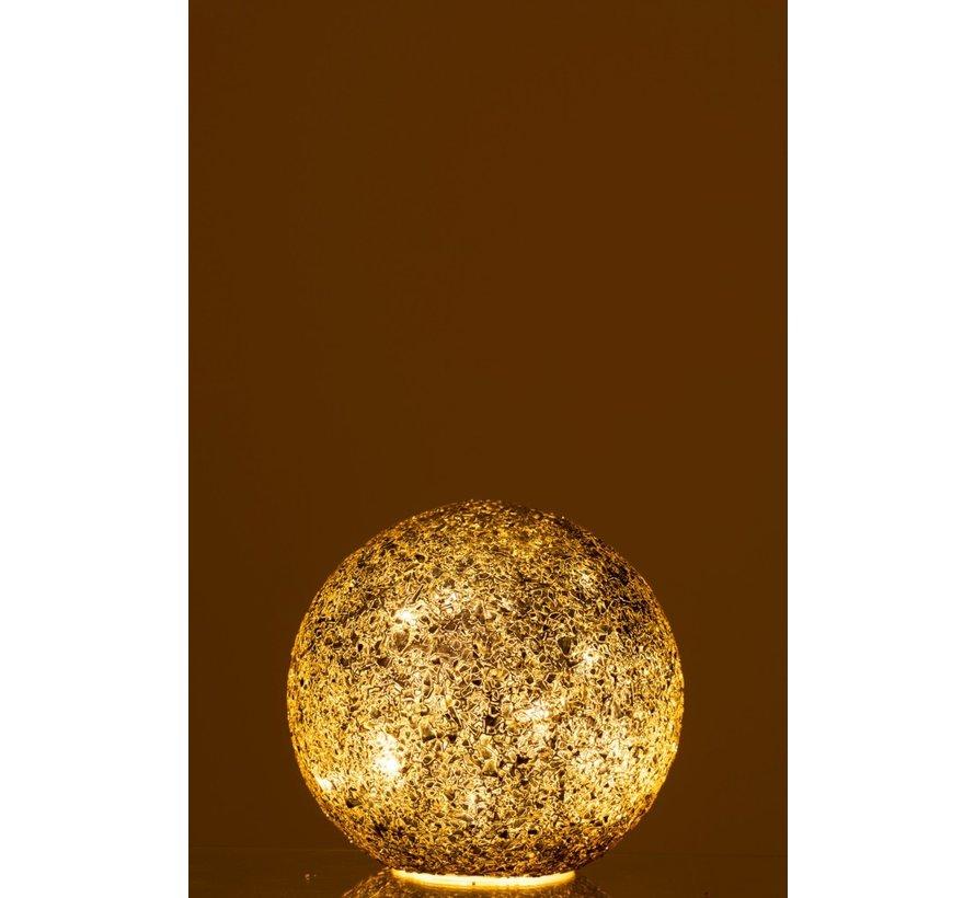 Tafellamp Bol gebroken Glas Led Verlichting - Zwart