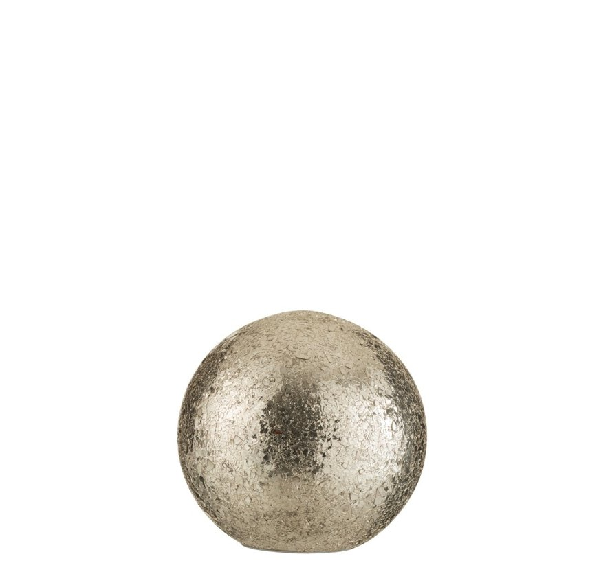 Tafellamp Bol gebroken Glas Led Verlichting - Zilver