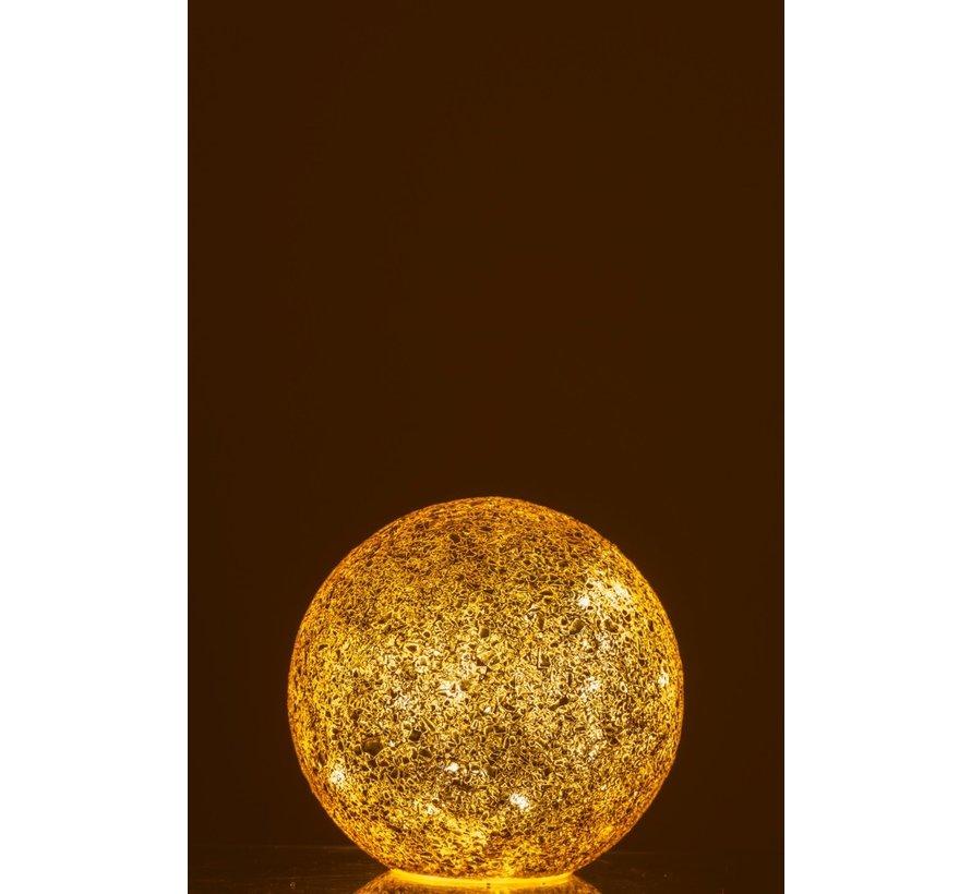Tafellamp Bol gebroken Glas Led Verlichting - Goud