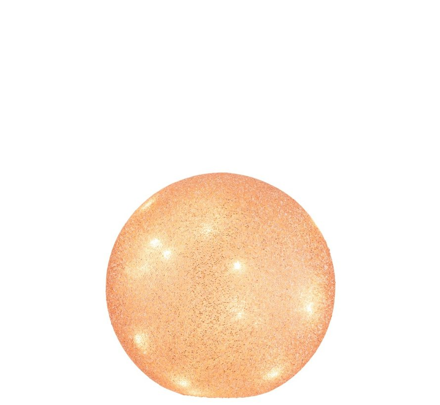 Tafellamp Bol Parels Glas Led - Licht Roze