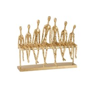 J -Line Decoration Figure Seven Seated People On a Bench - Gold