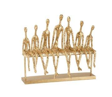 J -Line Decoratie Figuur Zeven Zittende Mensen Op een Bank - Goud