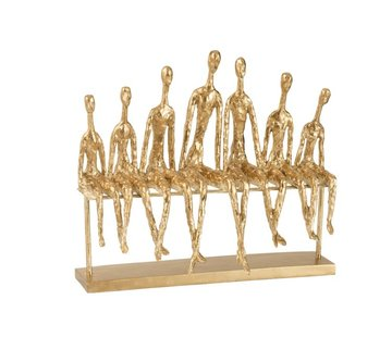 J-Line Decoratie Figuur Zeven Zittende Mensen Op een Bank - Goud