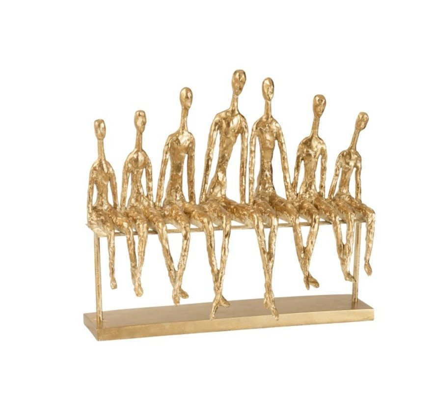 Decoration Figure Seven Seated People On a Bench - Gold