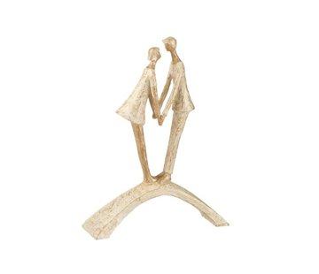 J-Line  Decoration Figure Couple Kissing On Bow - Gold