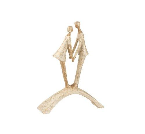 J -Line Decoration Figure Couple Kissing On Bow - Gold