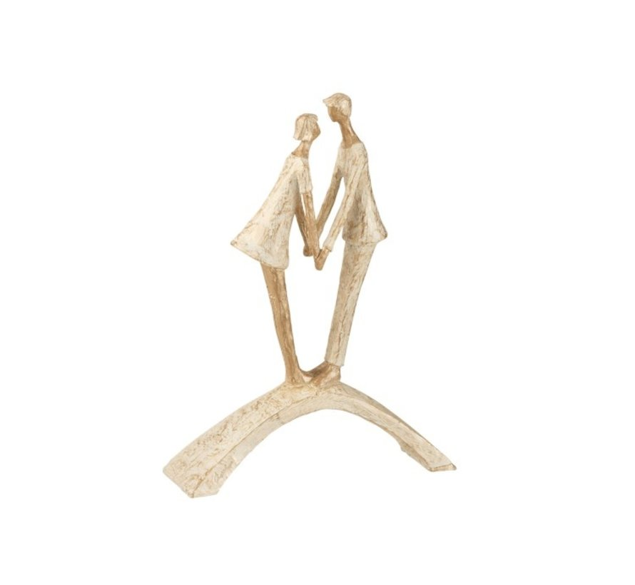 Decoration Figure Couple Kissing On Bow - Gold