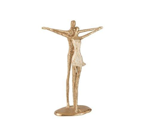 J -Line Decoration Figure Couple Open Arms - Gold