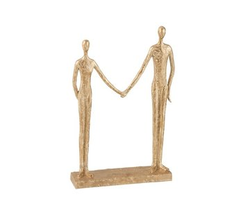 J-Line  Decoration Figure Couple Hand In Hand On Foot - Gold