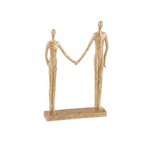 J -Line Decoration Figure Couple Hand In Hand On Foot - Gold