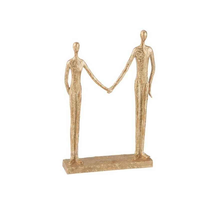 Decoration Figure Couple Hand In Hand On Foot - Gold