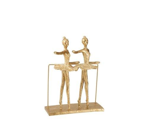 J -Line Decoratie Figuur Twee Ballerina's Op Voet - Goud