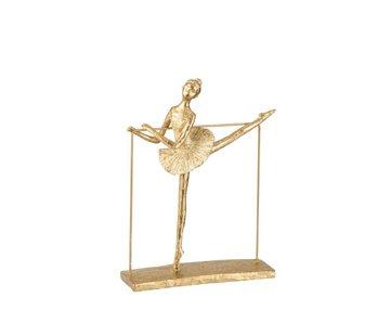 J-Line Decoration Figure Ballerina Dancing With Leg Side - Gold