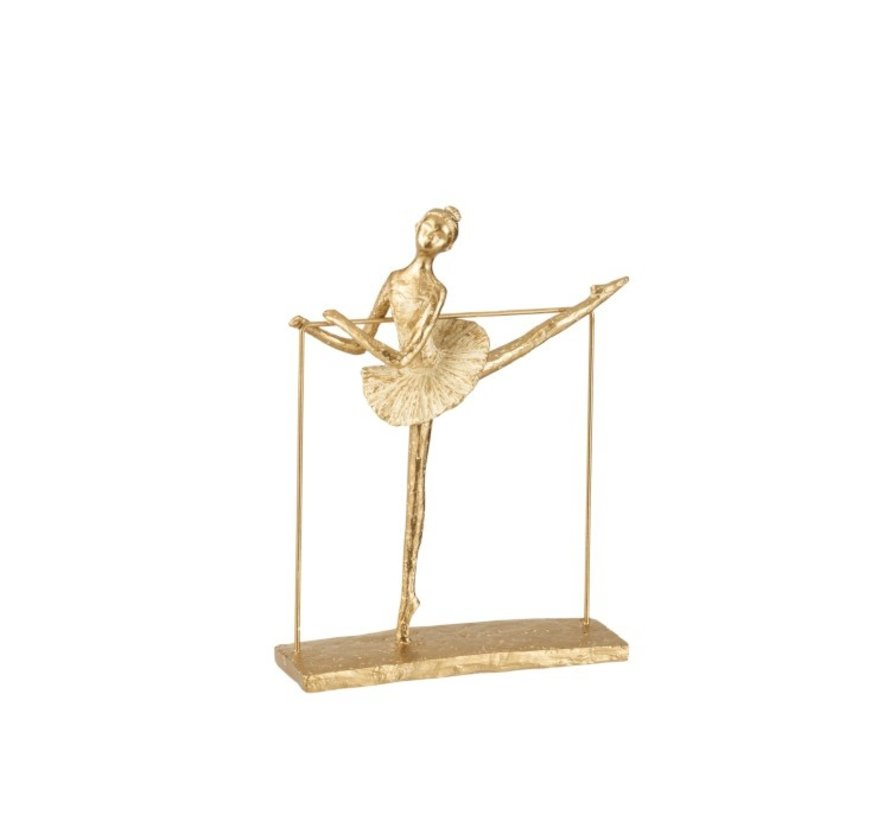 Decoration Figure Ballerina Dancing With Leg Side - Gold