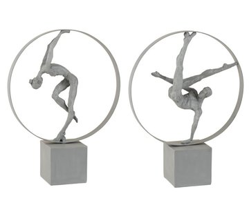 J -Line Decoration Figure Gymnasts In Rings Gray - Beige