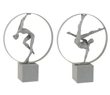 J -Line Decoration Figure Gymnasts In Rings Gray - Beige