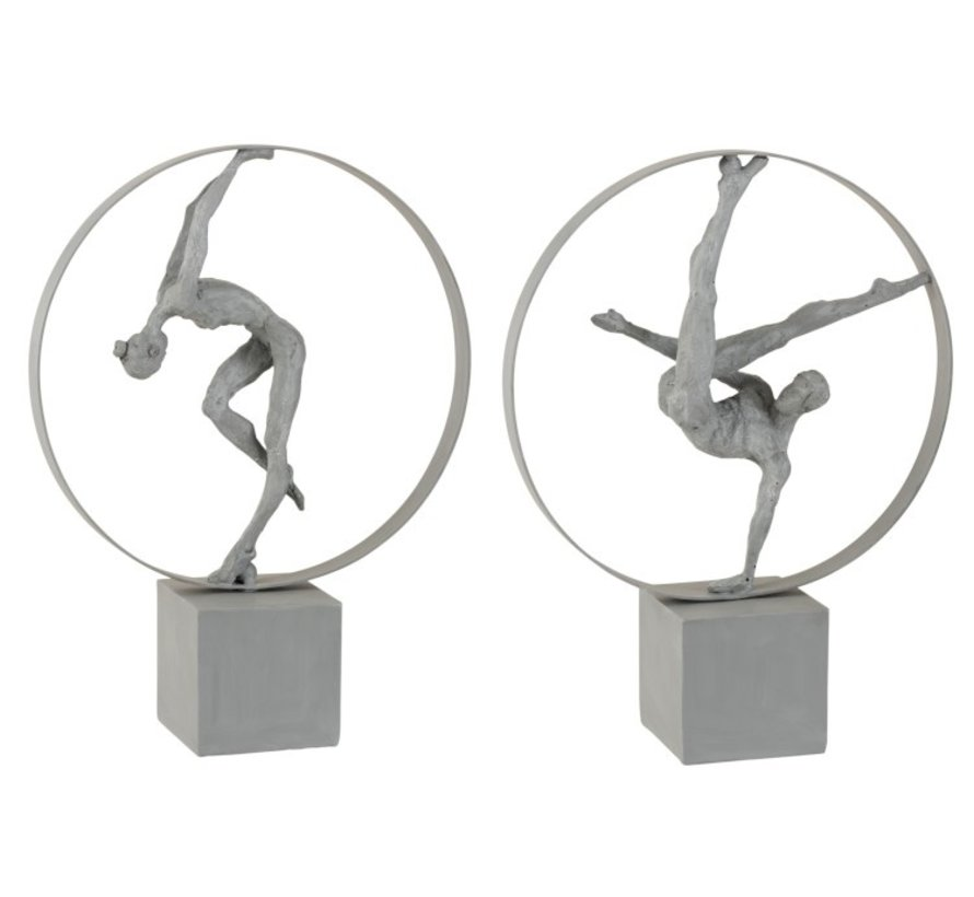 Decoration Figure Gymnasts In Rings Gray - Beige