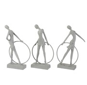J-Line Decoration Figure Gymnasts With Hula Hoop Gray - Beige