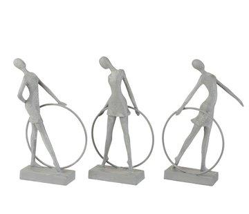 J -Line Decoration Figure Gymnasts With Hula Hoop Gray - Beige