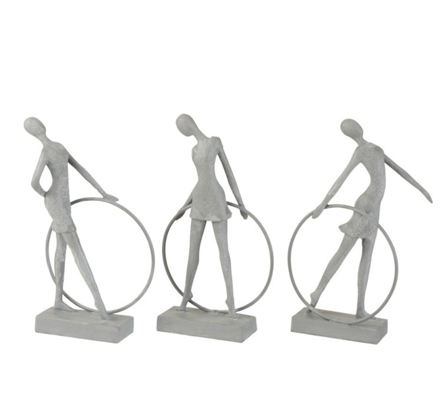 Decoration Figure Gymnasts With Hula Hoop Gray - Beige