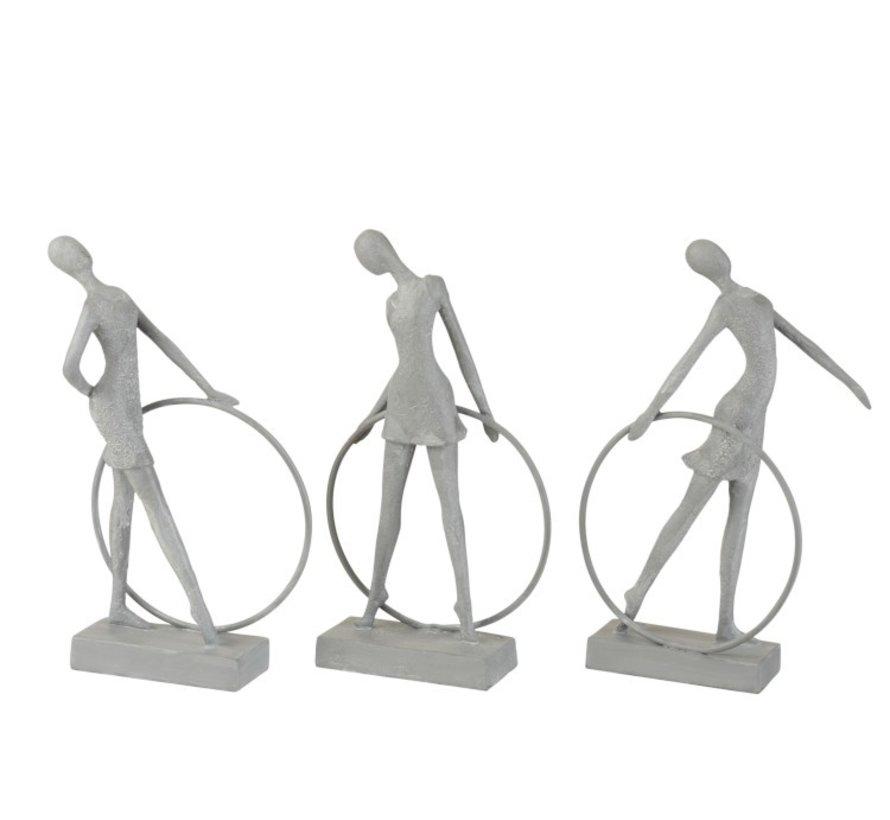Decoration Figure Gymnasts With Hula Hoop Gray - Beige