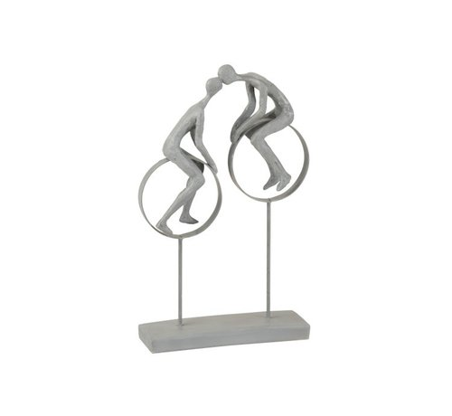 J-Line  Decoration Figure Couple in Love Kissing On Circles Gray - Beige