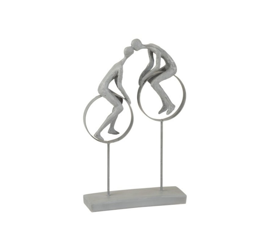 Decoration Figure Couple in Love Kissing On Circles Gray - Beige