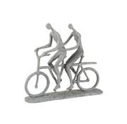 J -Line Decoratie Figuur Twee Personen Op Tandem Grijs - Beige