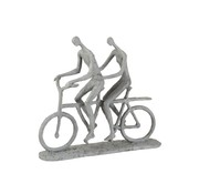 J-Line  Decoration Figure Two Persons On Tandem Gray - Beige