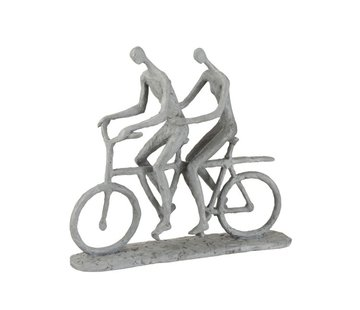 J -Line Decoration Figure Two Persons On Tandem Gray - Beige
