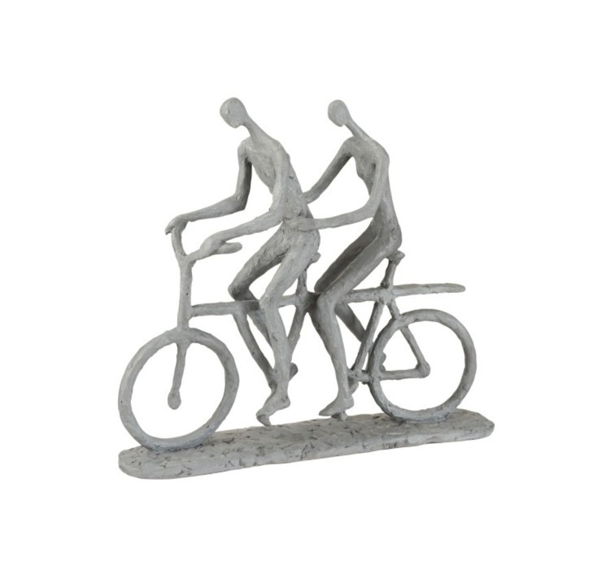 Decoration Figure Two Persons On Tandem Gray - Beige
