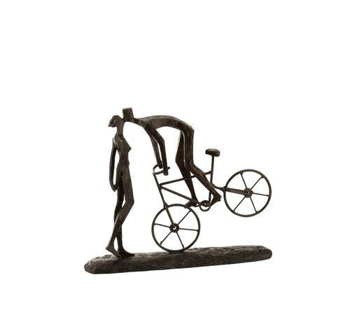 J -Line Decoratie Figuur Koppel Kussend Op fiets - Donkerbruin