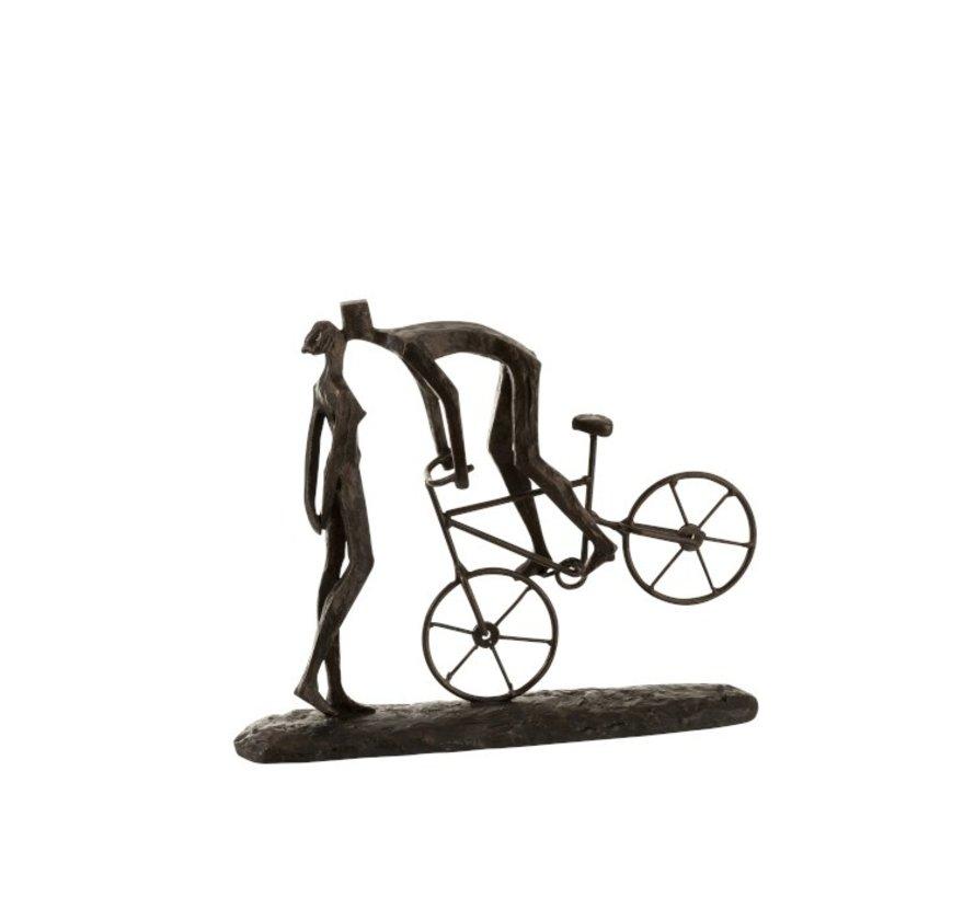 Decoratie Figuur Koppel Kussend Op fiets - Donkerbruin