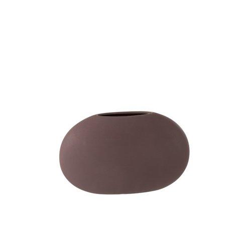 J-Line Vaas Ovaal Plat Keramiek Pastel Mat Paars - Medium