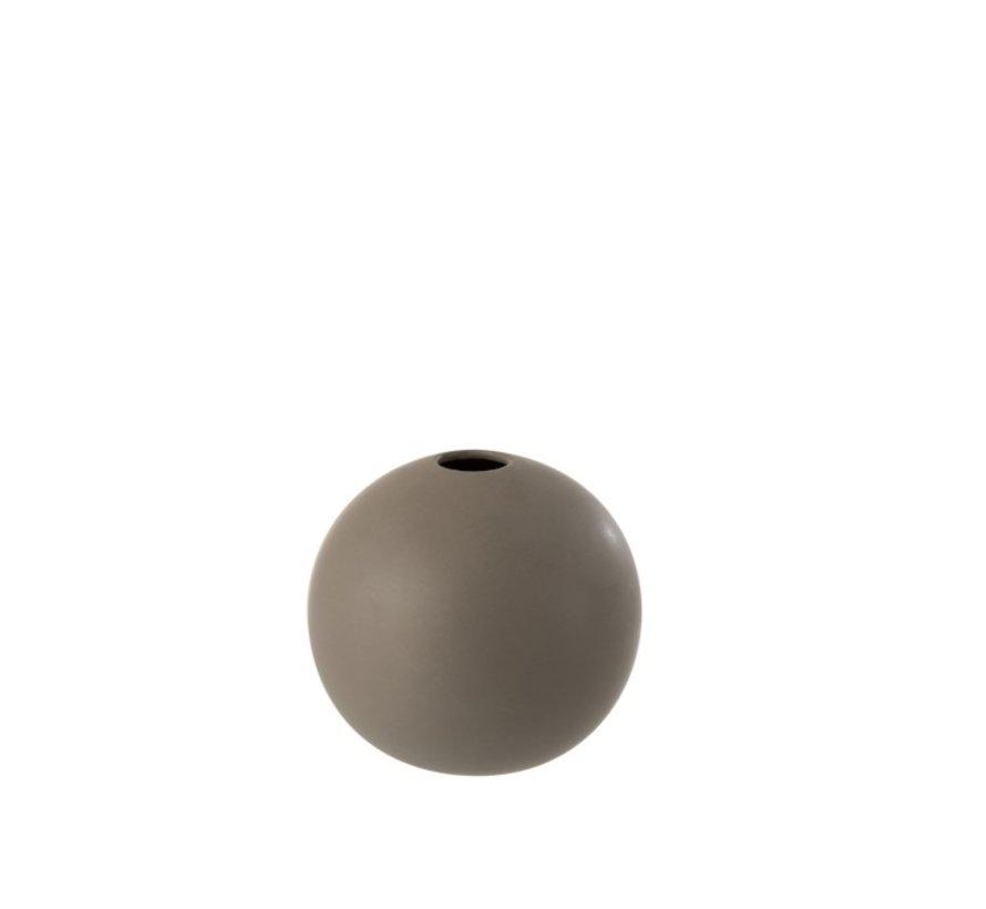 Vase Ball Ceramic Pastel Matt Gray - Medium