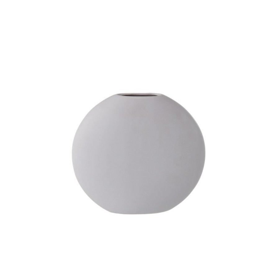 Vase Round Flat Ceramic Pastel Matt Light Purple - Large