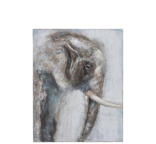 J -Line Wanddecoratie Canvas Schilderij Olifant Bruin - Grijs