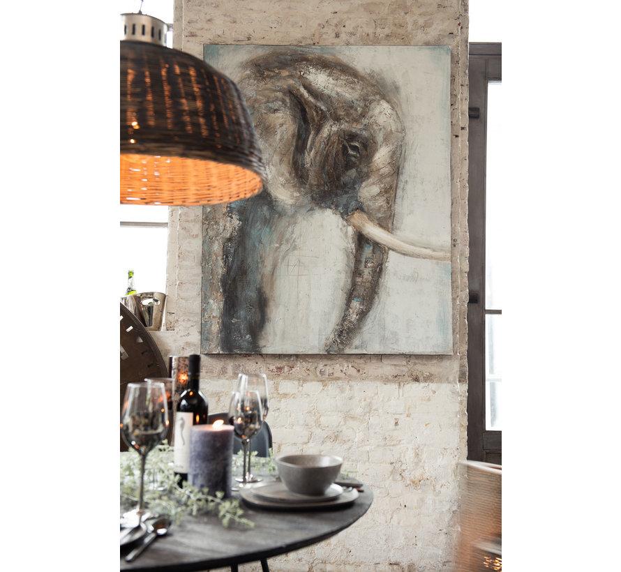 Wanddecoratie Canvas Schilderij Olifant Bruin - Grijs