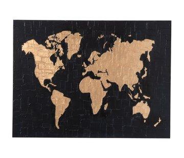 J -Line Wanddecoratie Schilderij Wereldkaart Zwart - Goud