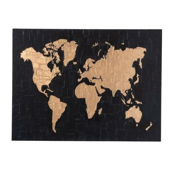 J -Line Wall decoration Painting World map Black - Gold